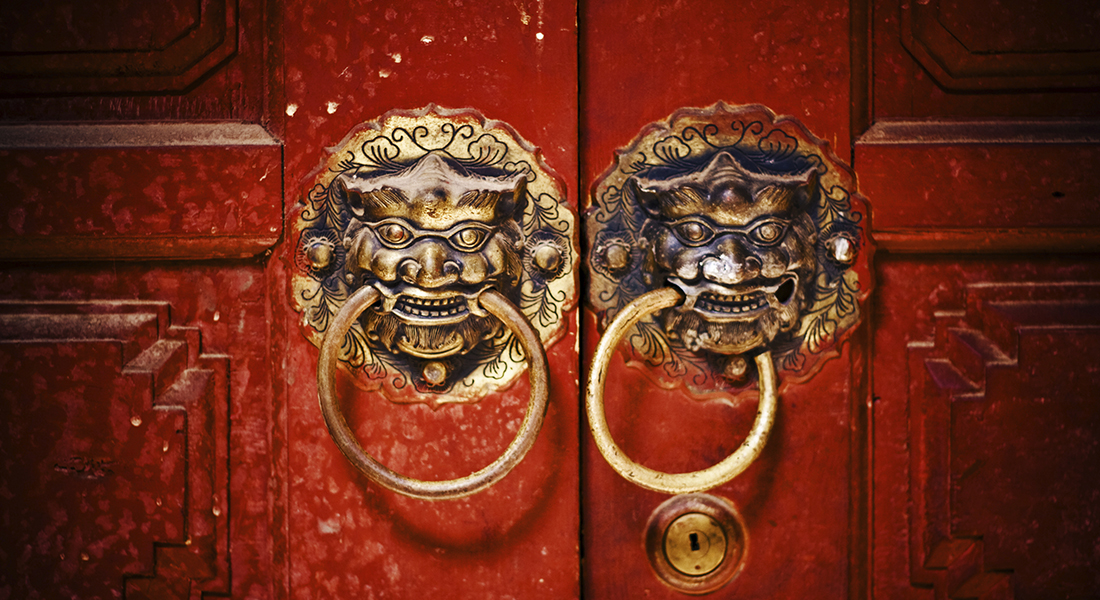 Chinese door with lions